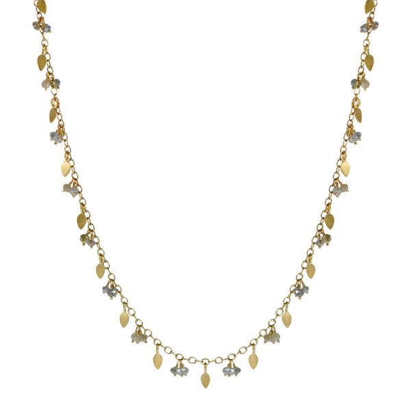 18K Gold 1 Tier Tiny Petal & Bead Chain with Opaque Grey Diamonds