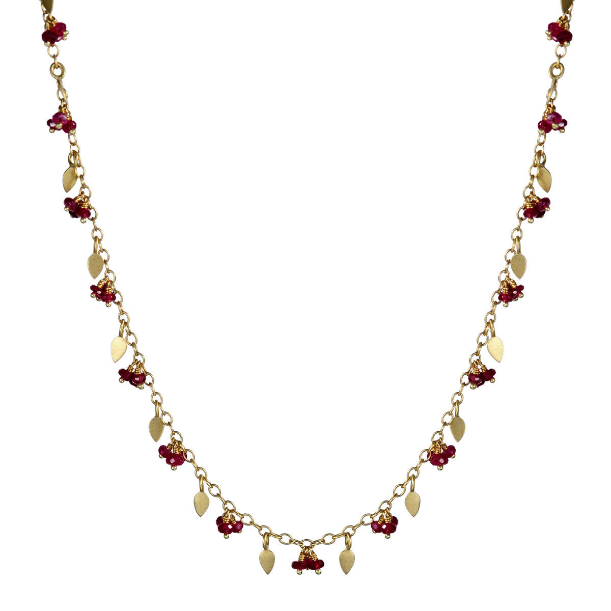 18K Gold 1 Tier Tiny Petal Chain with Rubies