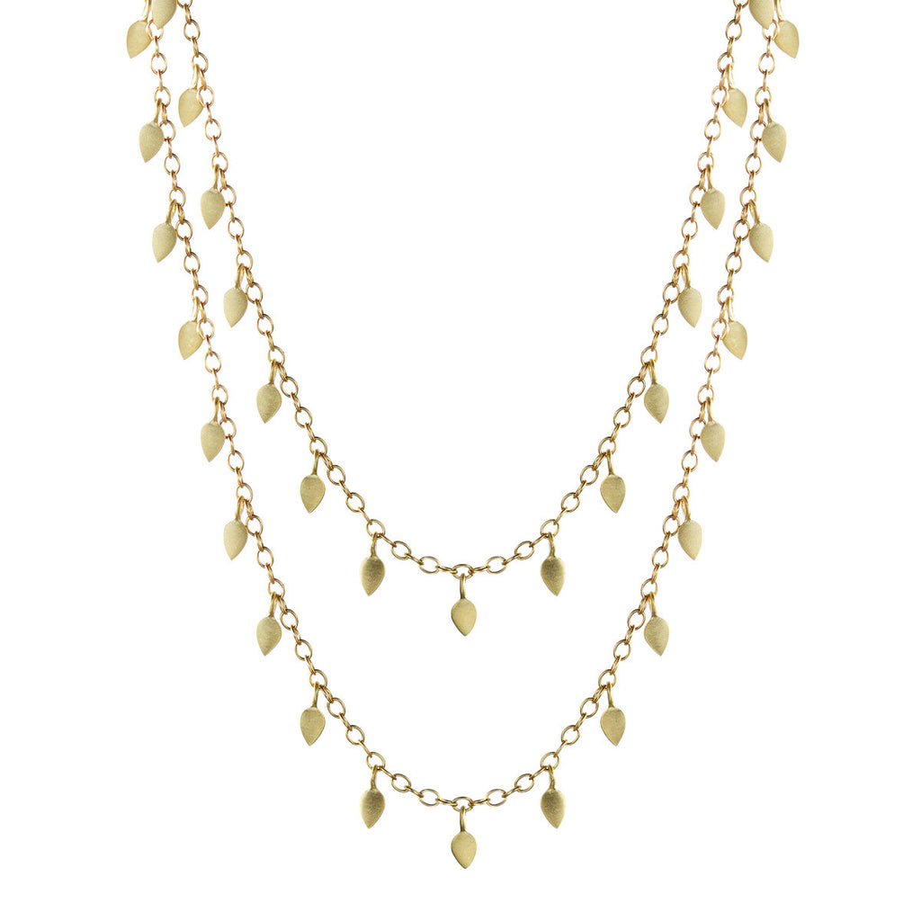 18K Gold Tiny Petal Wrap Necklace