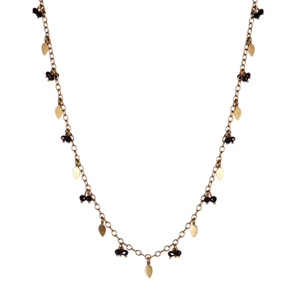 18K Gold Long Tiny Petal Chain with Black Diamonds