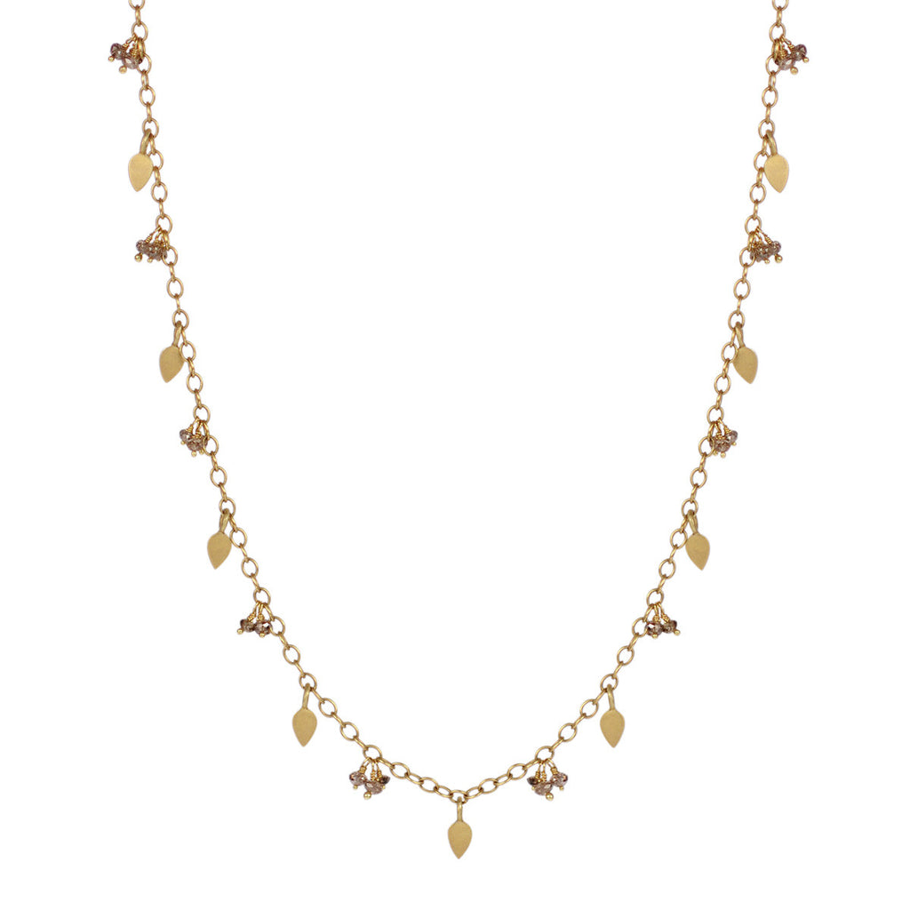 18K Gold Long Tiny Petal Chain with Brown Diamonds