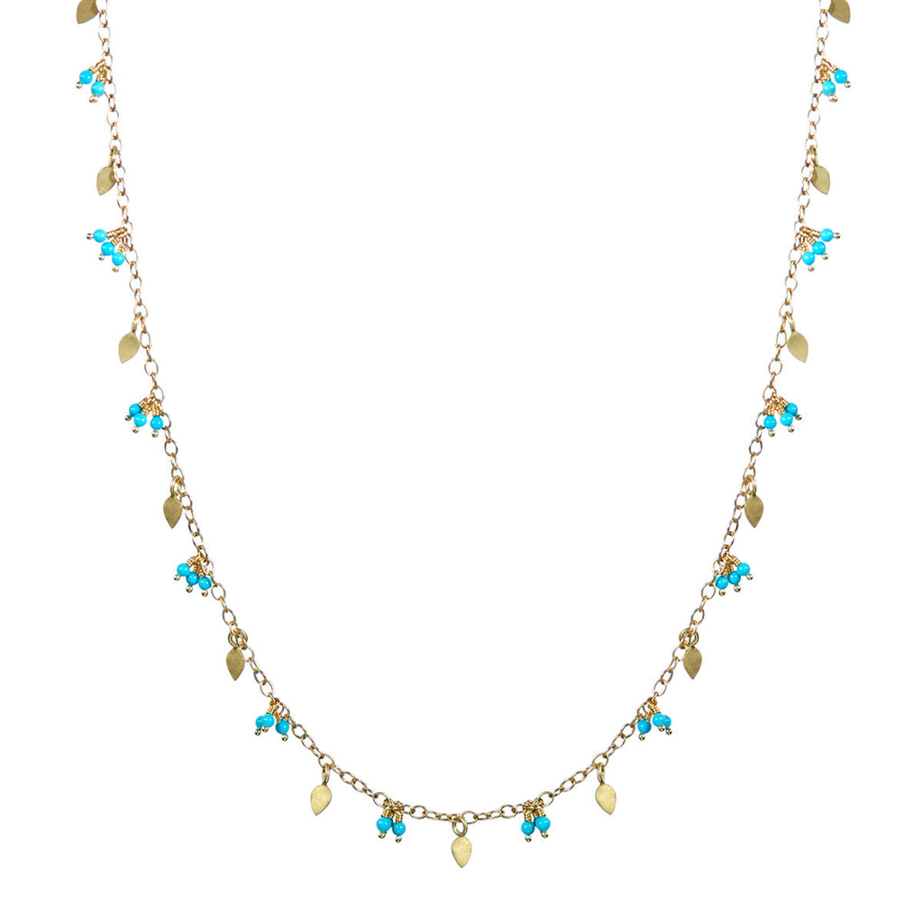 18K Gold Long Tiny Petal Chain with Turquoise