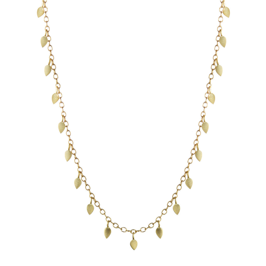 18K Gold Long Tiny Petal Chain
