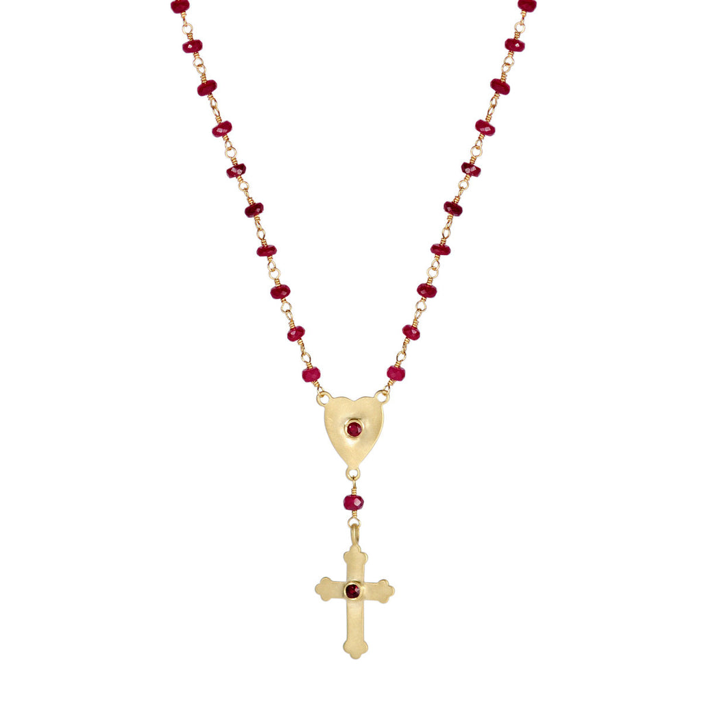 18K Gold Large Rosary Chain with Rubies