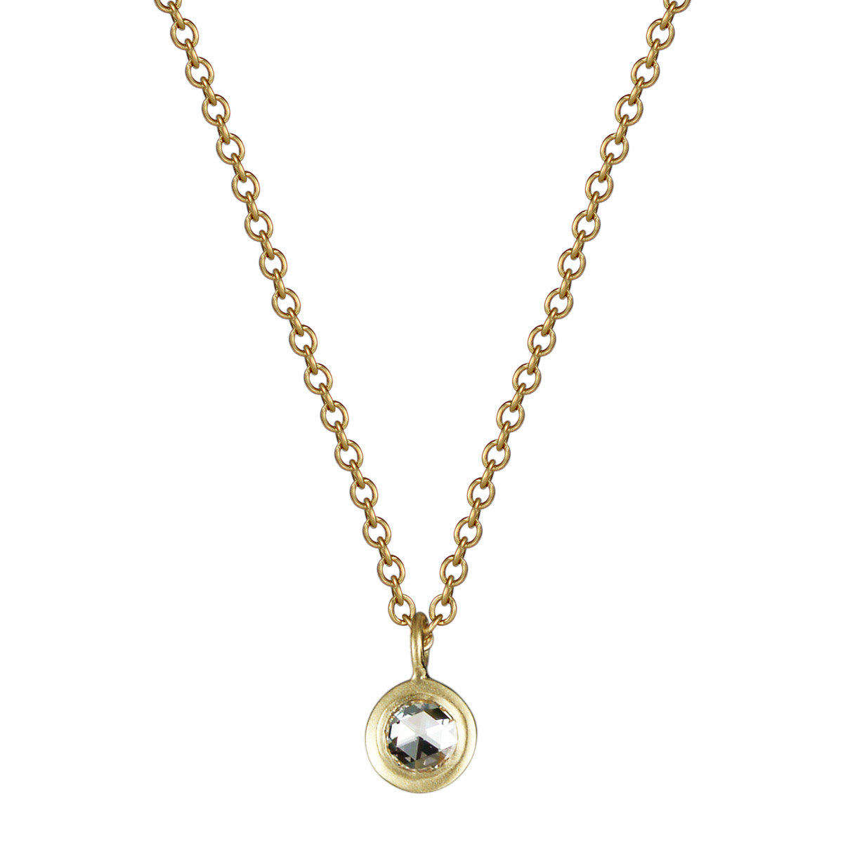 18K Gold Single Diamond Pendant