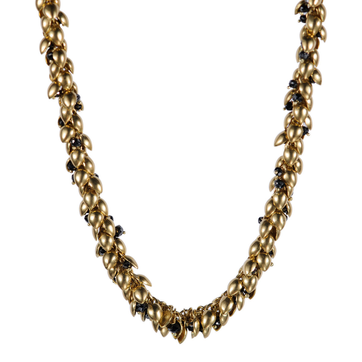 18K Gold All Bead Pod Necklace with Black Diamond Beads