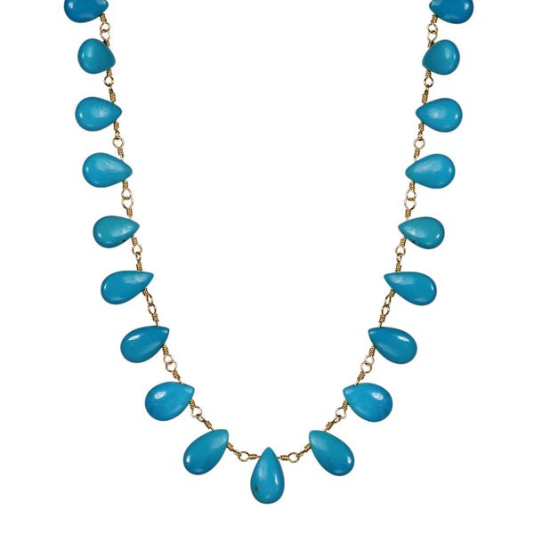 18K Gold Medium Turquoise Teardrop Necklace