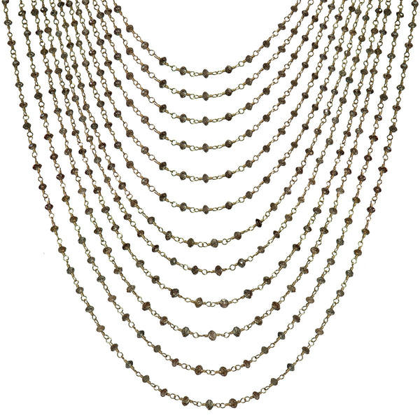 18K Gold 12 Strand Brown Diamond Chain