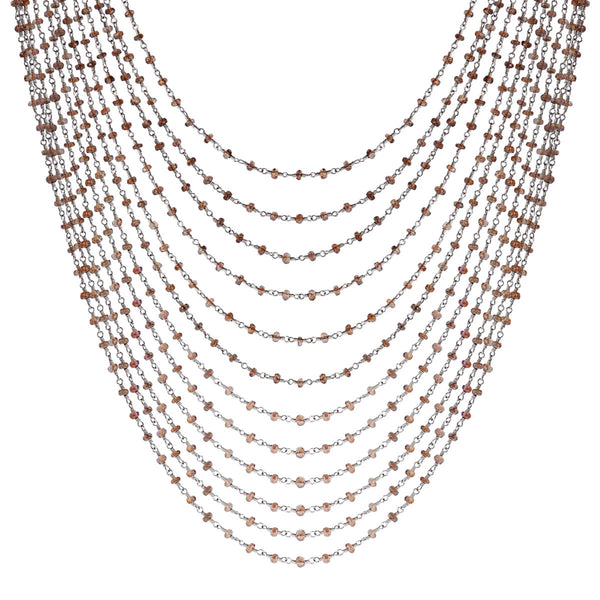 Sterling Silver 12 Strand Andalusite Chain