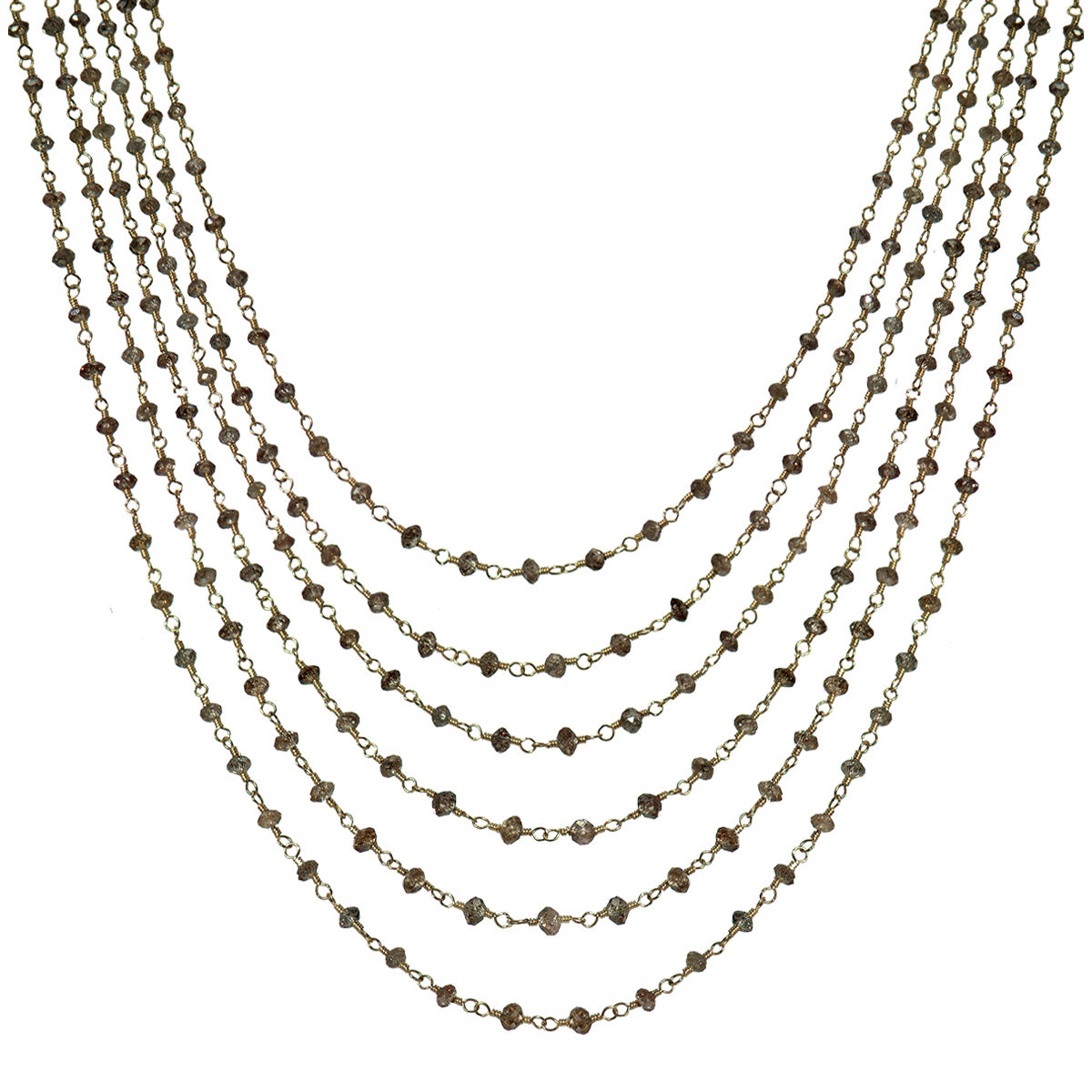 18K Gold 6 Strand Brown Diamond Chain