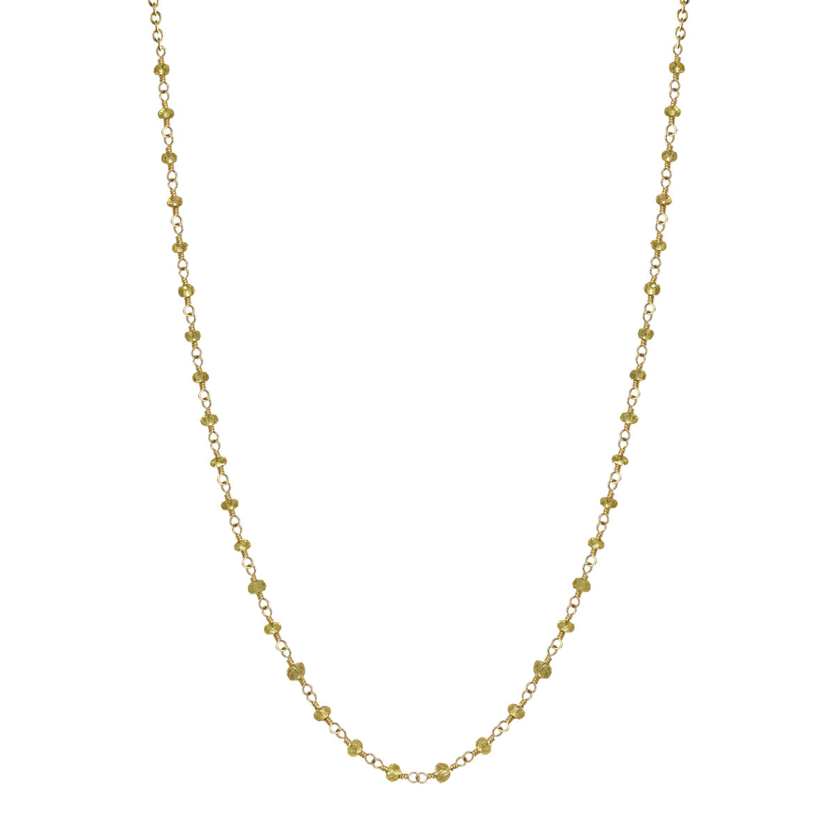 18K Gold Yellow Sapphire Beads on Chain