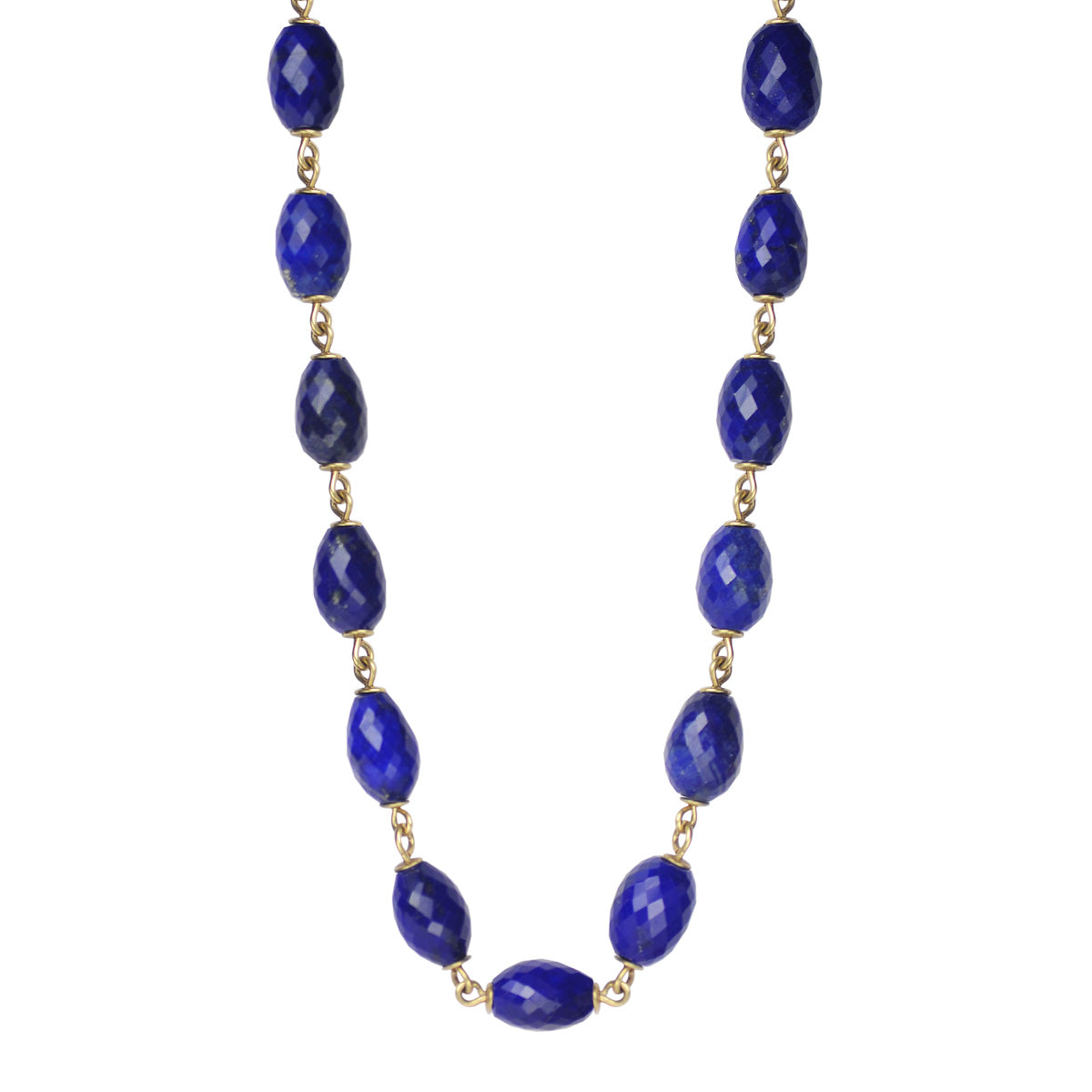 18K Gold Faceted Oval Lapis Bead Link Chain
