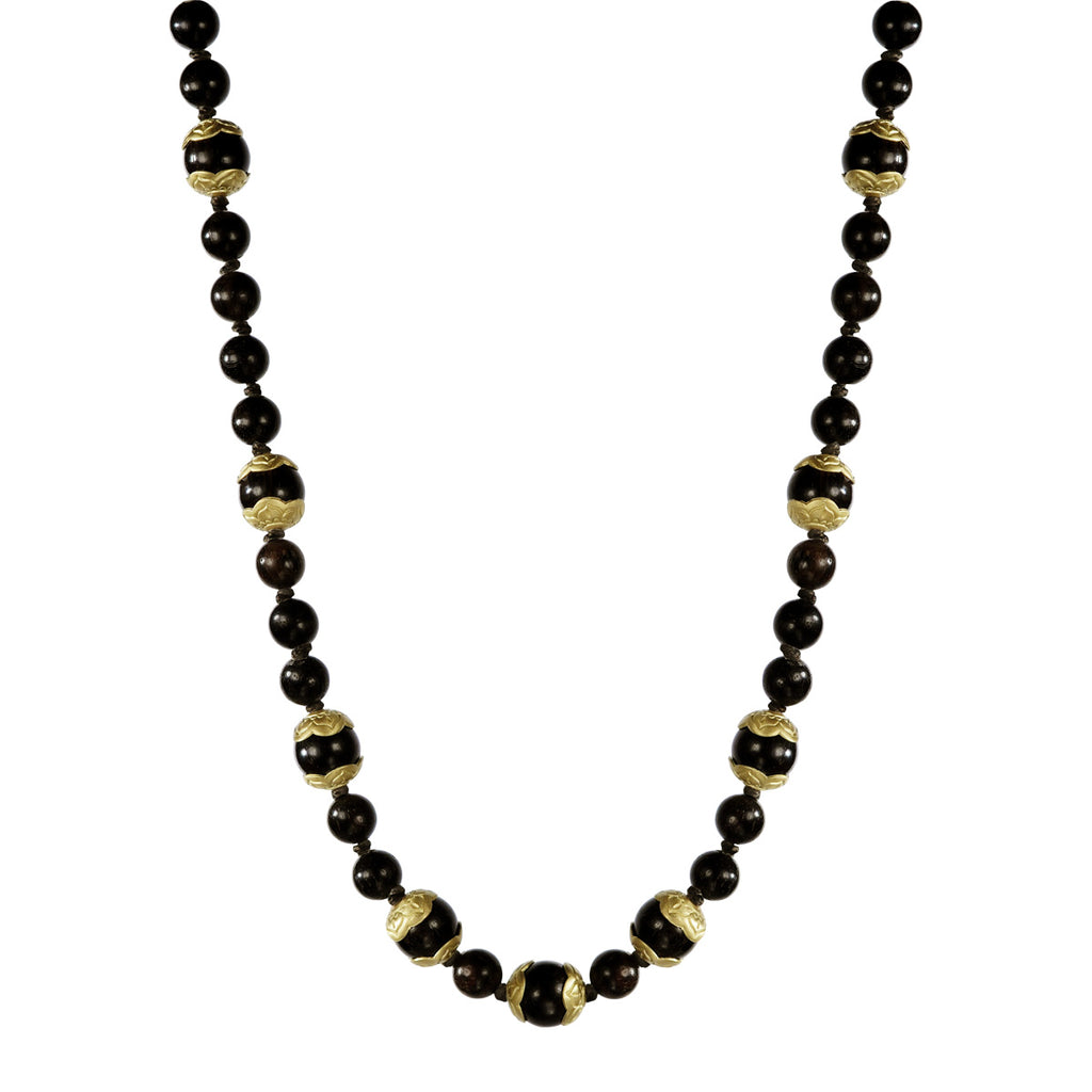 18K Gold Flower Capped Vintage Ebony Bead Chain on Cord