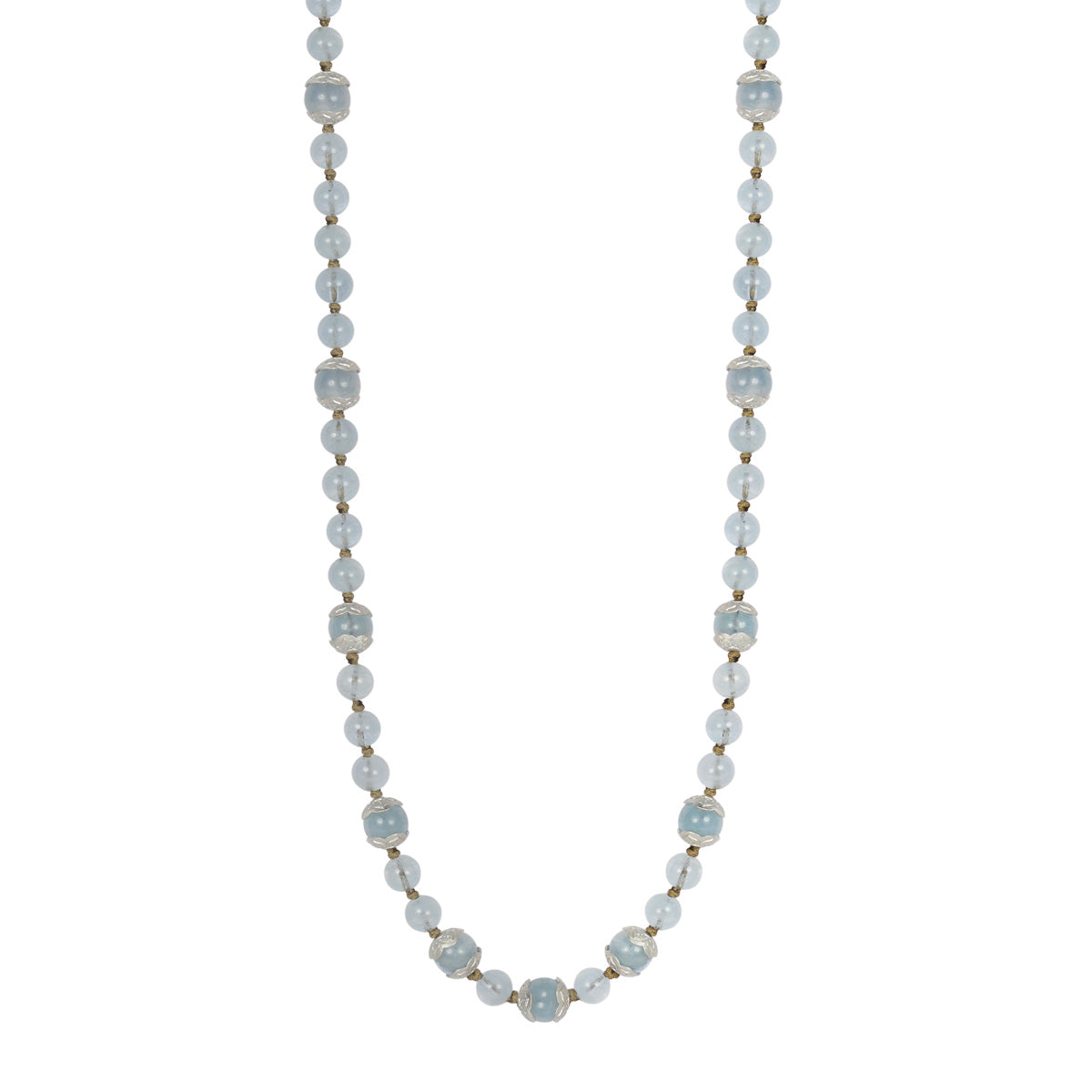 Sterling Silver Flower Cap Aquamarine Bead Necklace on Cord