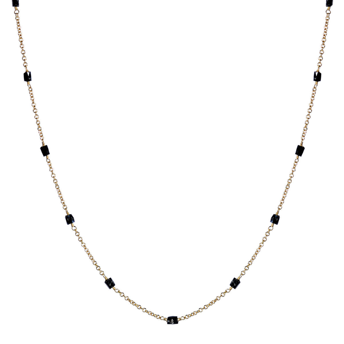 18K Gold Black Diamond Bead Chain