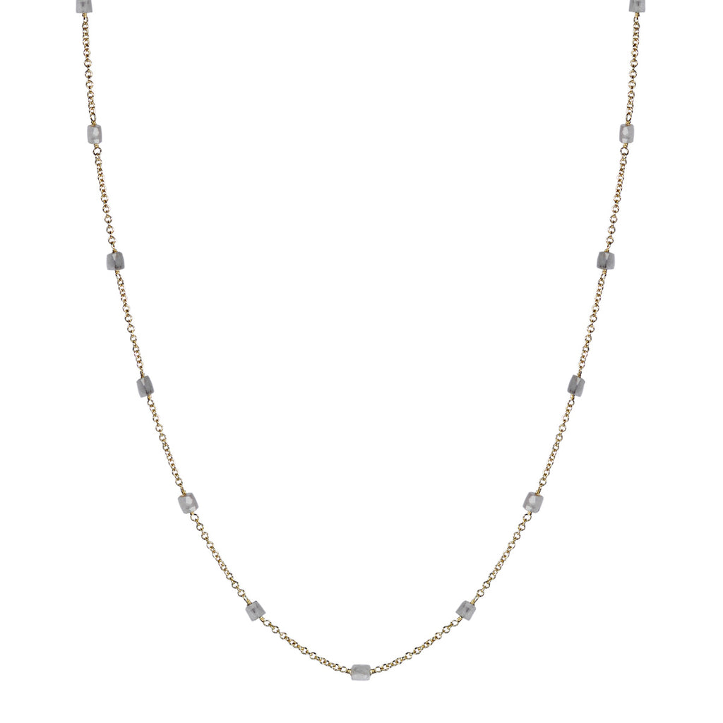18K Gold Opaque Diamond Bead Chain