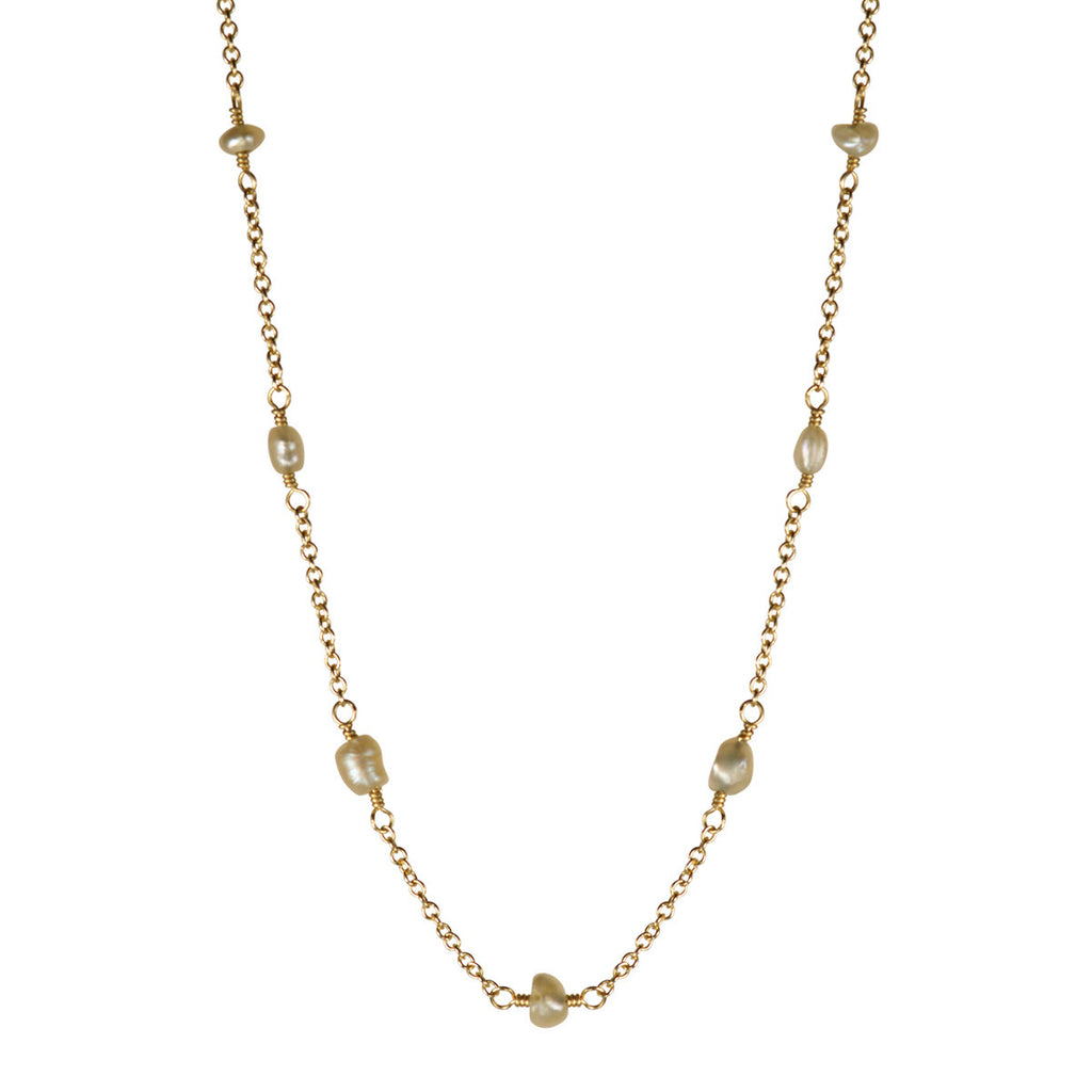18K Gold Basra Pearls on Chain