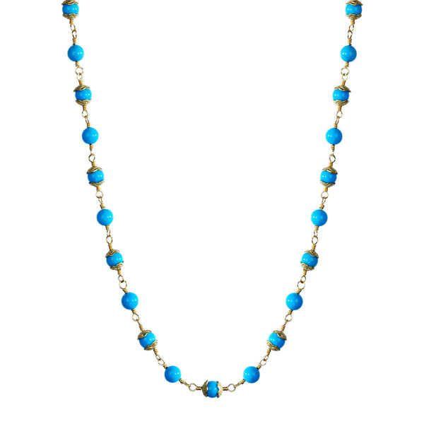 18K Gold Tiny Turquoise Flower Cap Bead Chain