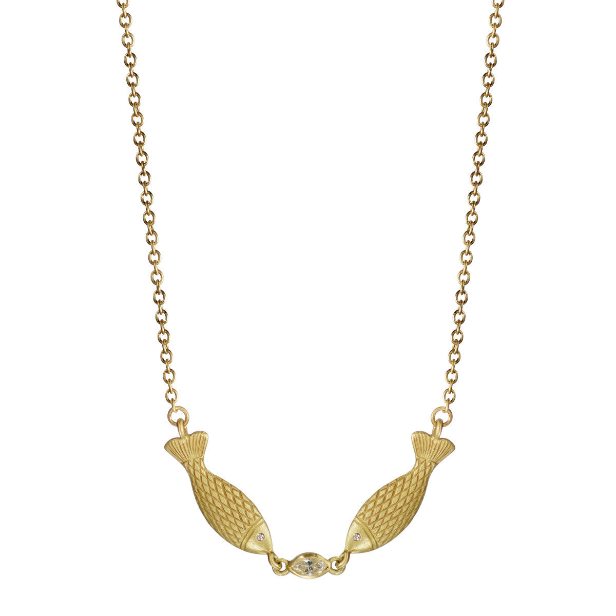 18K Gold Kissing Fish Chain with Marquise Diamond