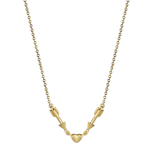 18K Gold Double Arrow and Heart Chain