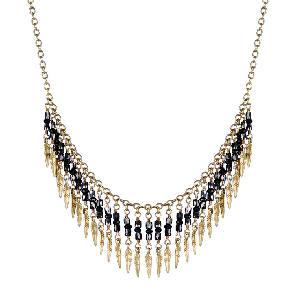 18K Gold Black Diamond Dream Catcher Fringe Necklace