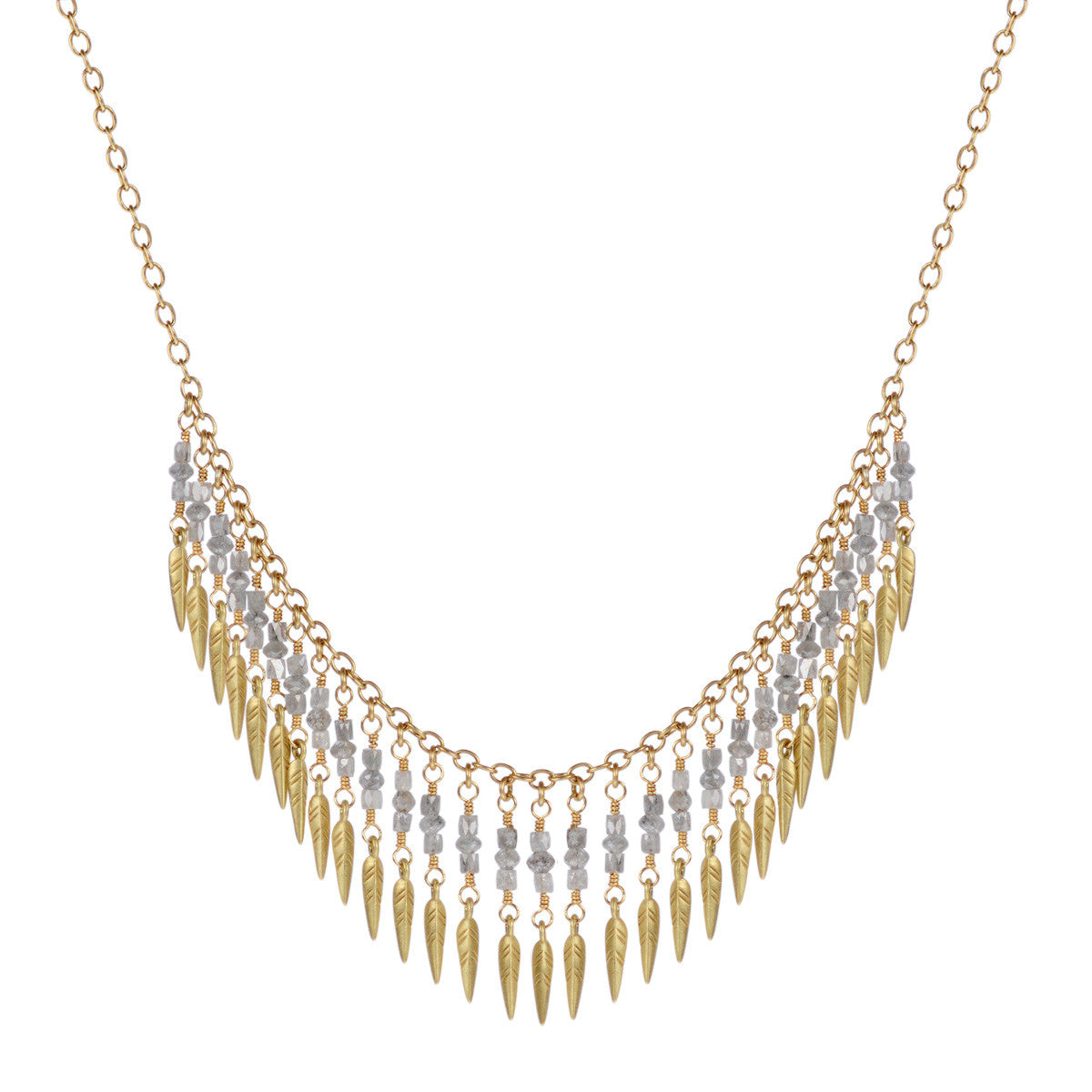 18K Gold Grey Diamond Dream Catcher Fringe Necklace