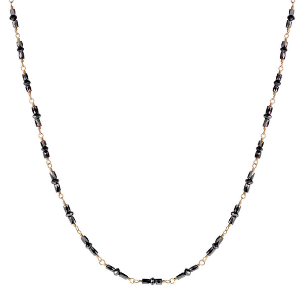 18K Gold Full Black Diamond Station Chain