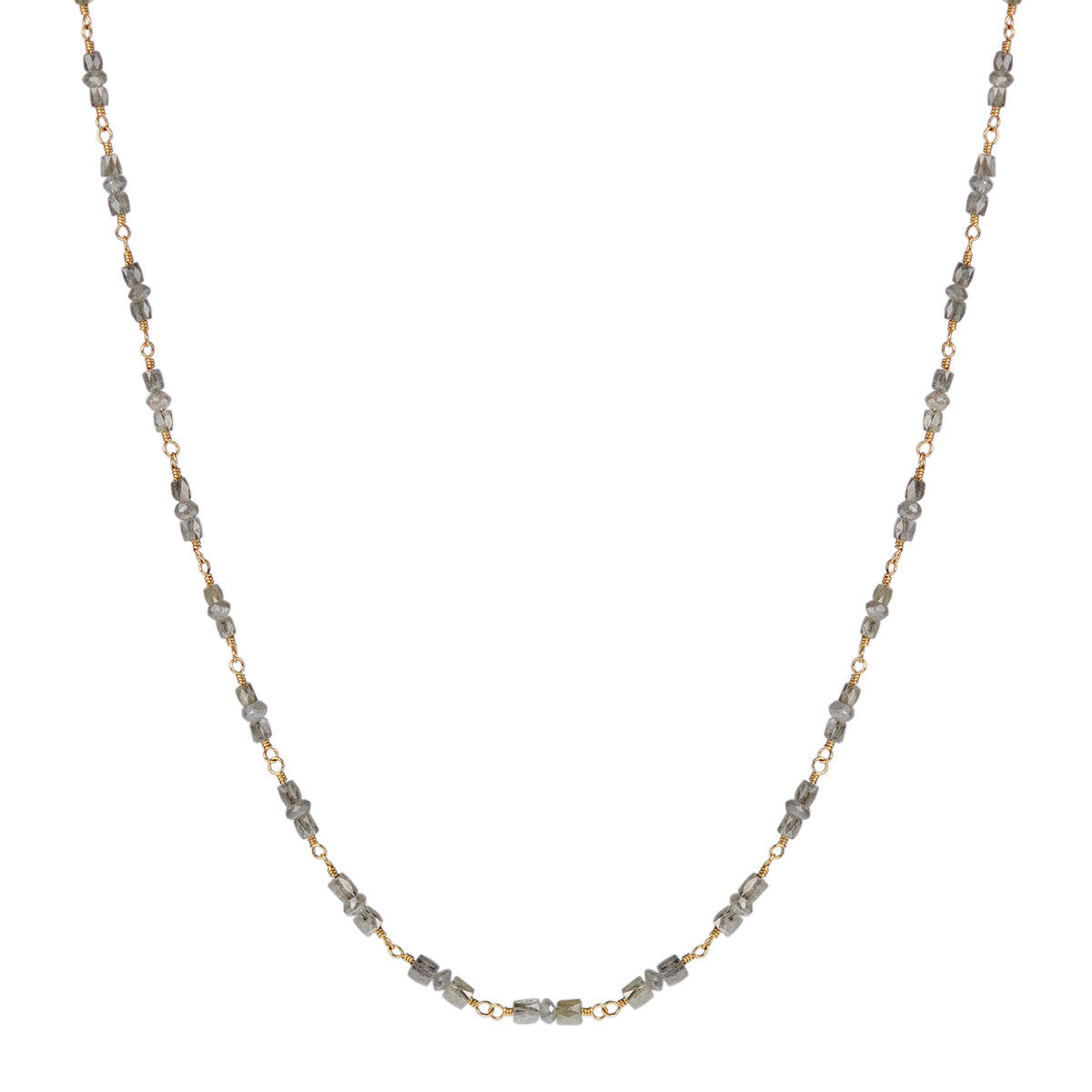 18K Gold Full Grey Diamond Station Chain