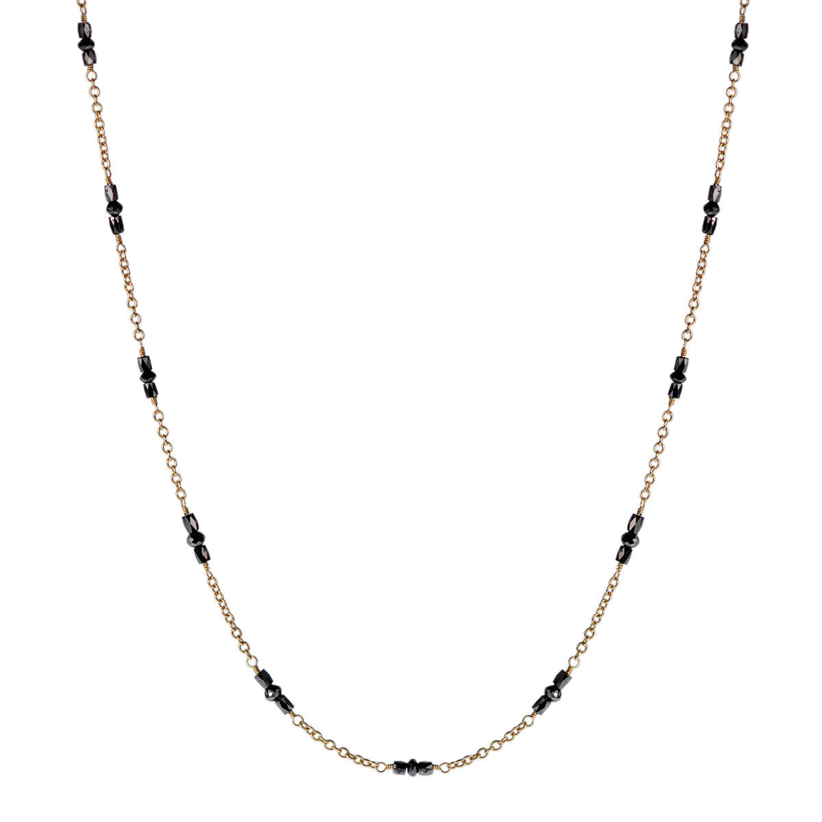 18K Gold Black Diamond Station Chain