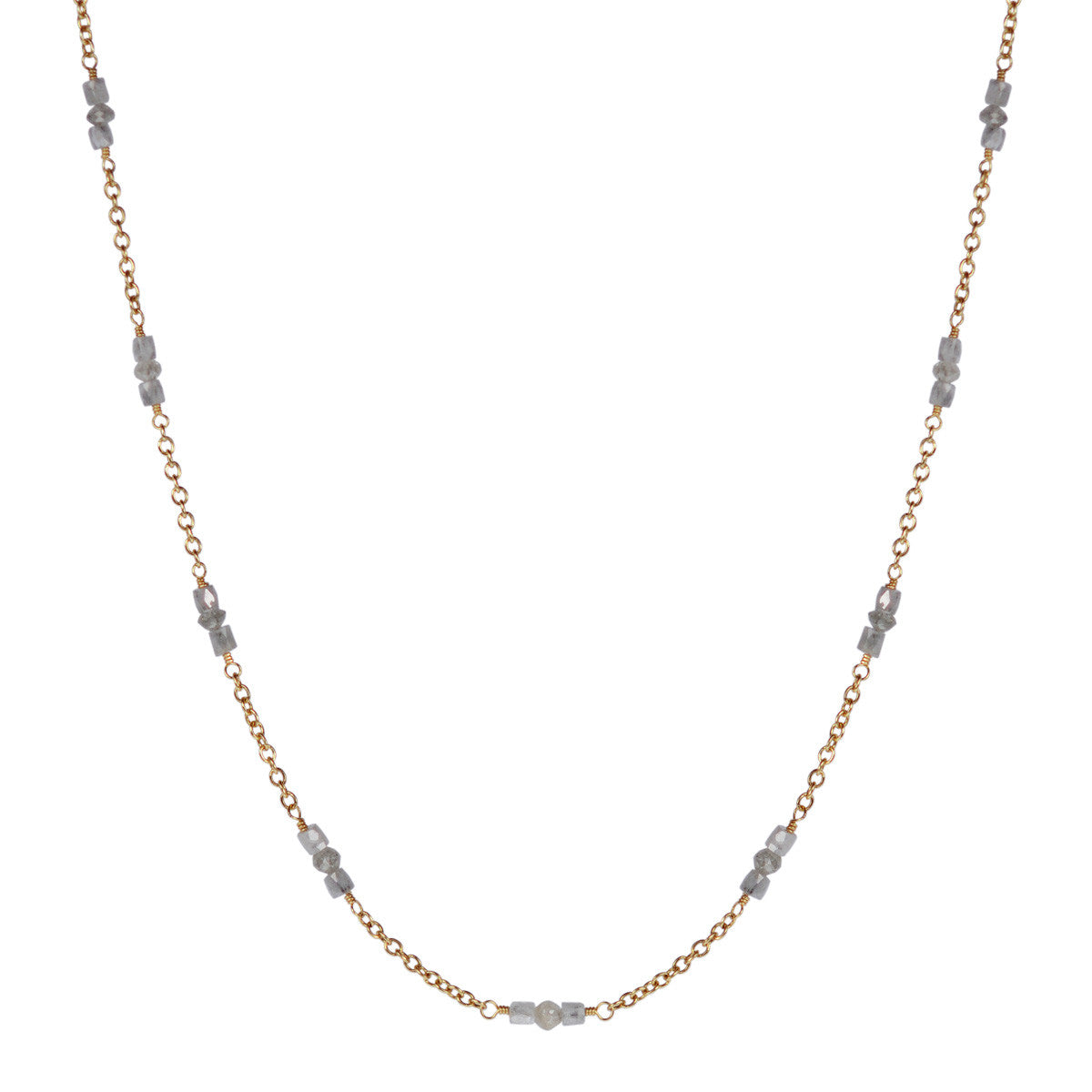 18K Gold Grey Diamond Station Necklace
