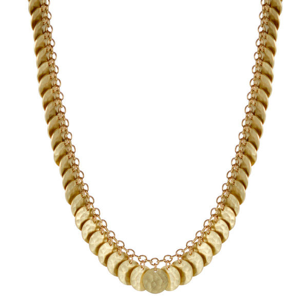 18K Gold Full Hammered Disc Necklace