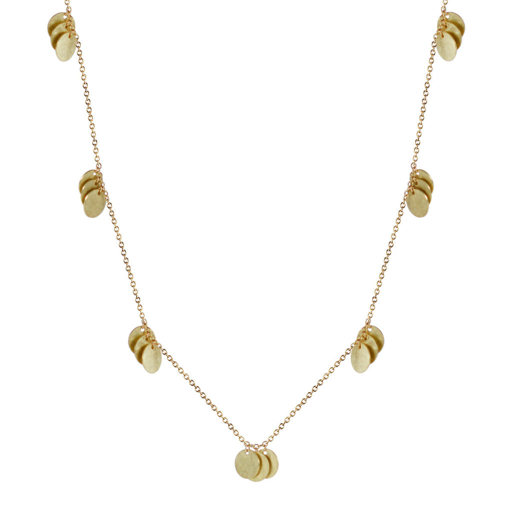18K Gold Triple Hammered Disc Necklace