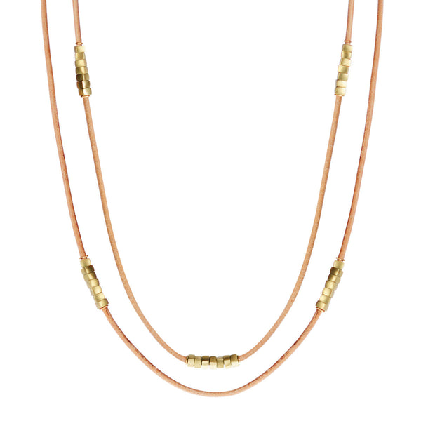 18K Gold Long Leather Cord with Square Beads