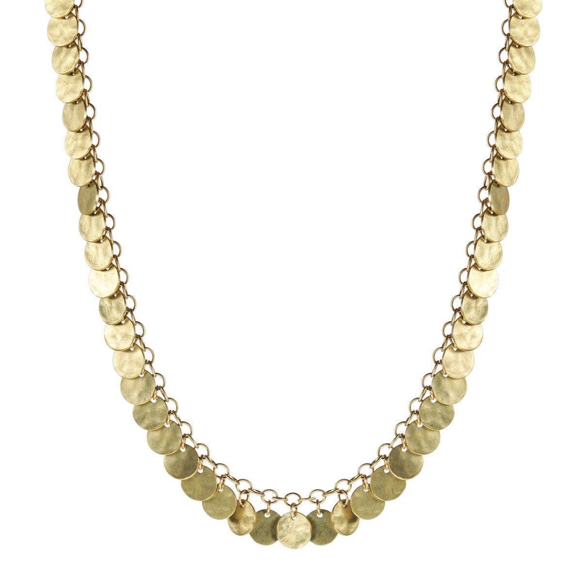 18K Gold Small Full Hammered Disc Necklace
