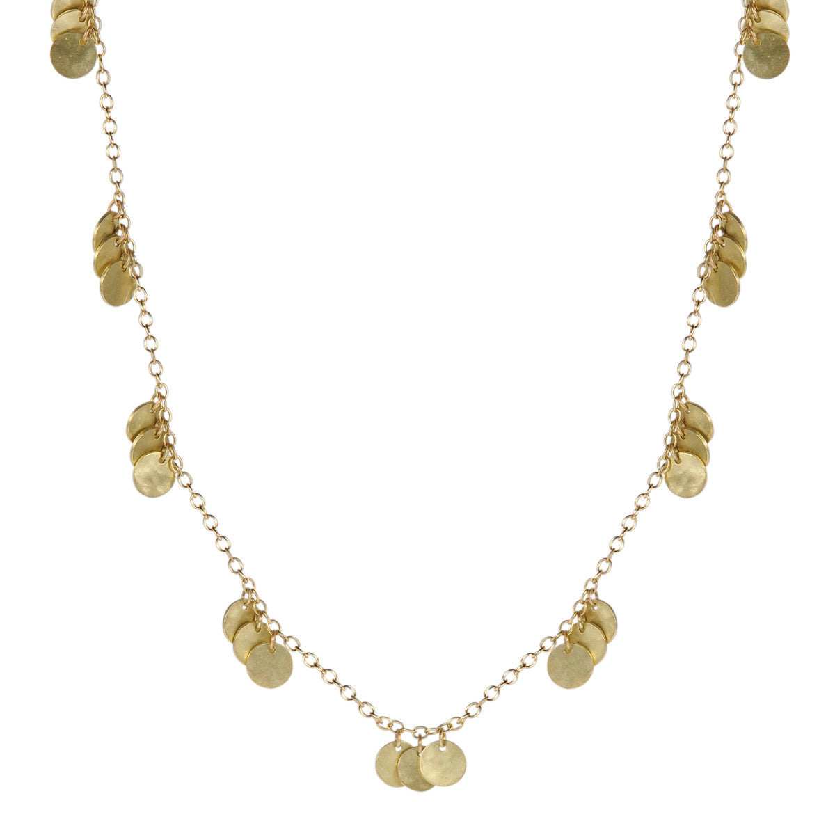 18K Gold Small Multi Hammered Disc Necklace