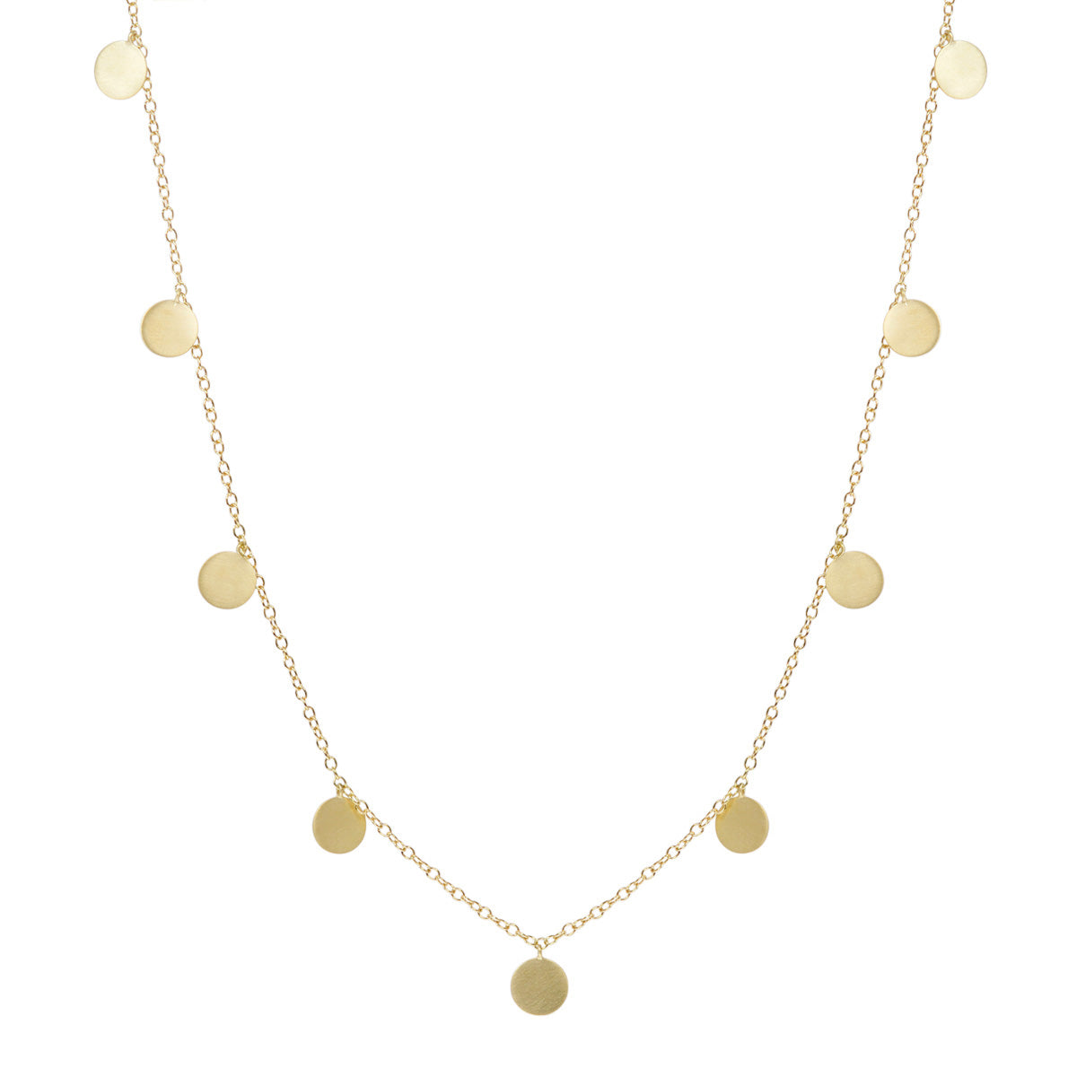 18K Gold Long Medium Disc Necklace