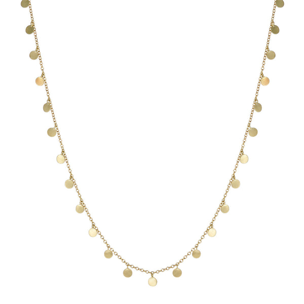 18K Gold Full Tiny Disc Necklace