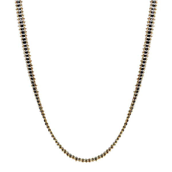 18K Gold Fine Slinky Tube Chain in Black Diamonds