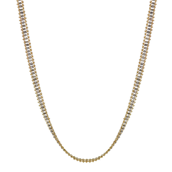 18K Gold Fine Slinky Tube Chain in Grey Diamonds
