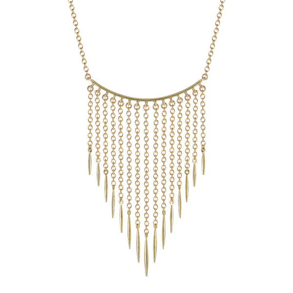 18K Gold Graduated Lure Fringe Necklace