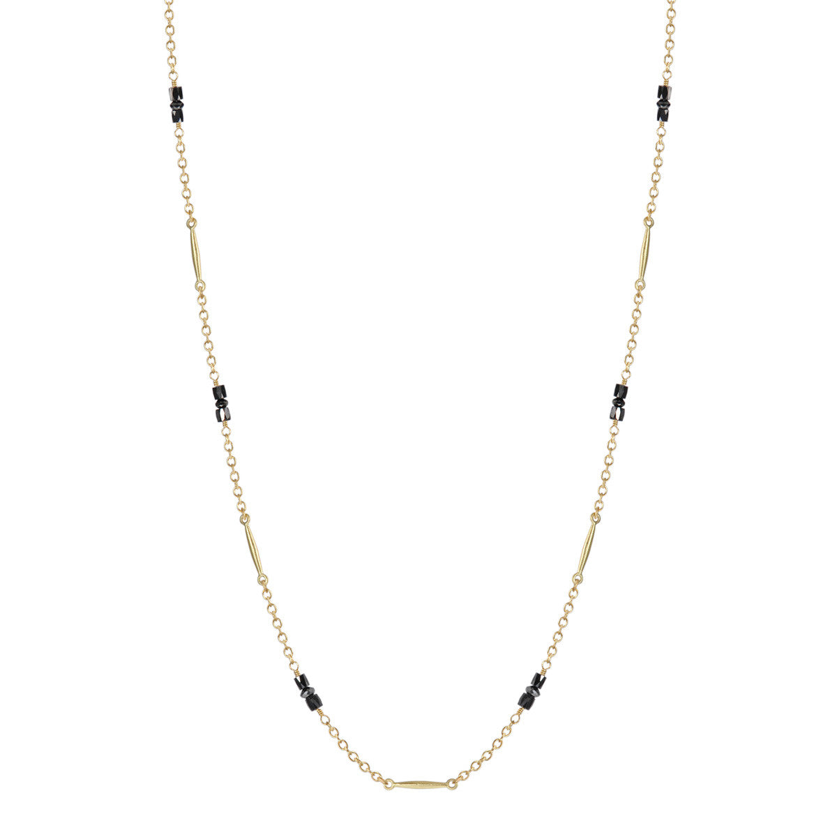 18K Gold Lure Necklace with Black Diamonds