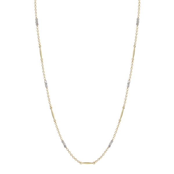 18K Gold Lure Necklace with Grey Diamonds