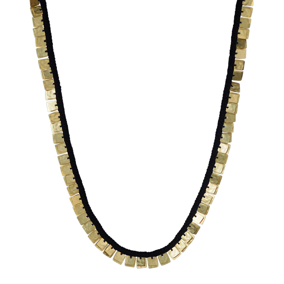 18K Gold Full Woven Sequin Square Necklace