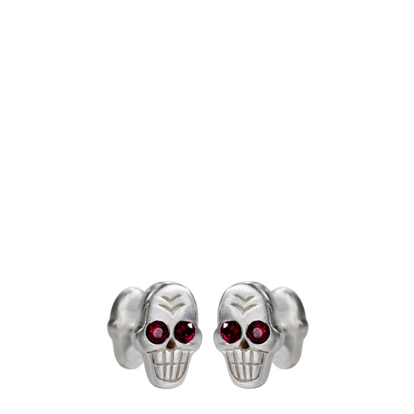 Men's Sterling Silver Skull Cufflinks with Ruby Eyes