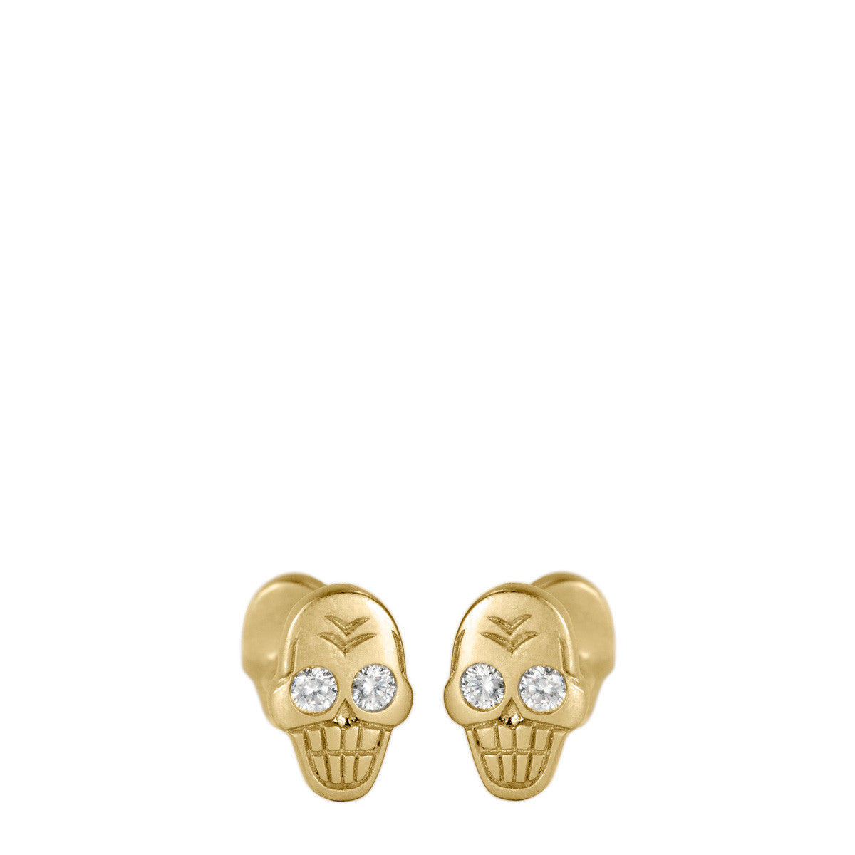 Men's 18K Gold Skull Cufflinks with Diamonds