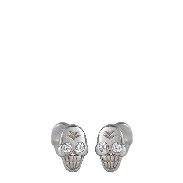 Men's Platinum Skull Cufflinks with Diamonds