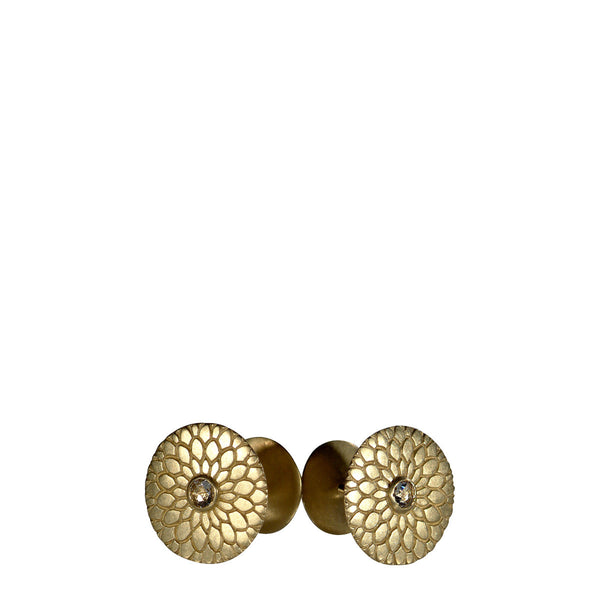 Men's 18K Gold Lotus Mandala Cufflinks with Rose Cut Diamonds