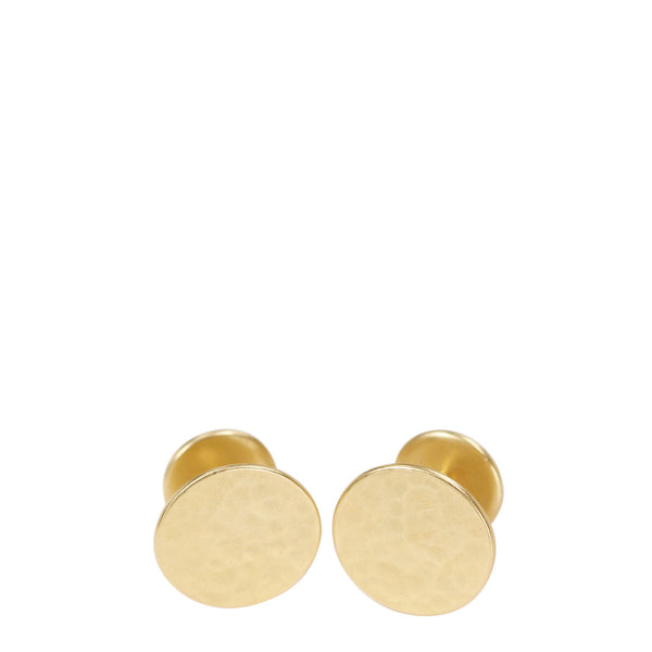 Men's 18K Gold Hammered Cufflinks