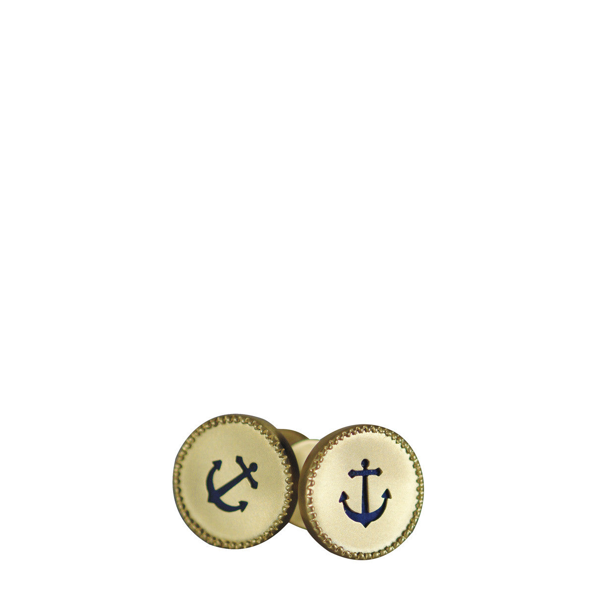 Men's 18K Gold Anchor Cut Out Cufflinks with Lapis