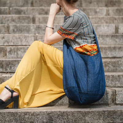 Large Denim Sling Cross Body Bag